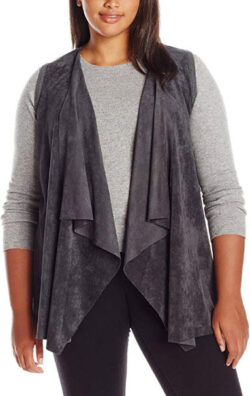 Calvin Klein Women's Plus Size Vest W Suede Drape