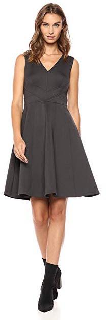 Calvin Klein Womens Sleeveless V-Neck Multi Seamed Fit and Flare Dress gunmetal