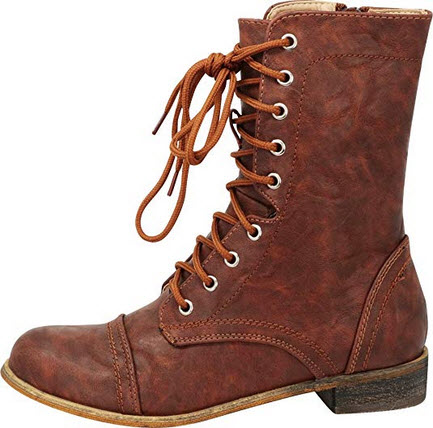 Cambridge Select Women's Closed Round Toe Lace-Up Chunky Low Heel Mid-Calf Combat Boot cog ...