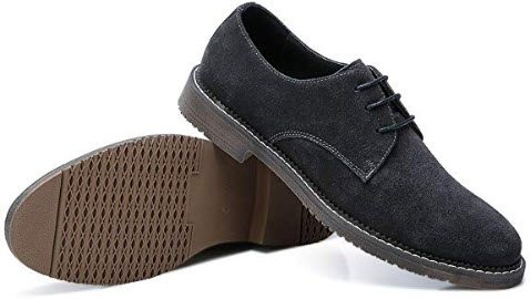 Camel Men's Suede Shoes Leather Lace up Oxford Shoes for Business Work dark grey