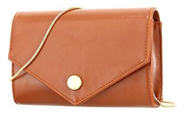 Candice Women Casual Mini Chain PU Leather Crossbody Bag Shoulder Bag Handbag Purse, light brown