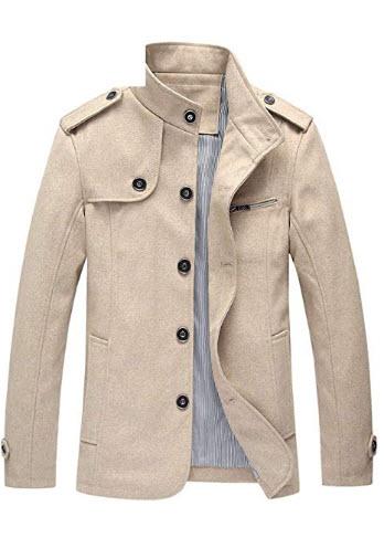 Candy-OU Men Wool Blends Coat New Winter Mens Trench Coat Clothing Male Winter Woolen Jacket Coat