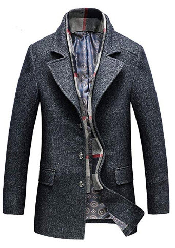 Candy-OUWinter New Thicken Trench with Scarf Men's Casual Coat Male Wool Blends Coat