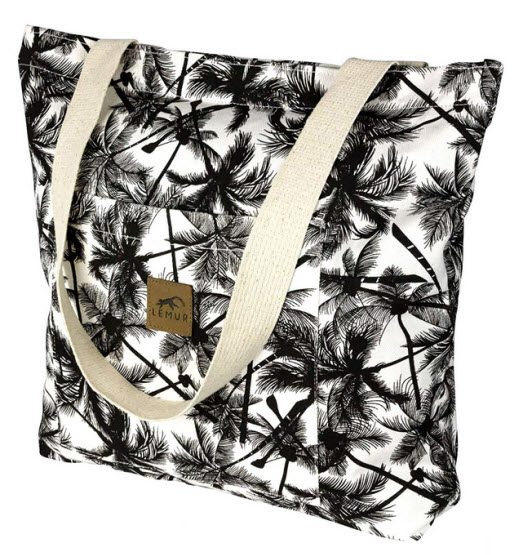 Canvas Shopping Tote Bag – Zippered Shoulder Tote with Front Pocket by Lemur Bags (Tropica ...