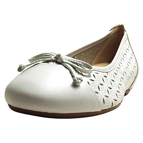 Caprice Women's Closed Ballet Flats, White, Nappa Leather, Wide G