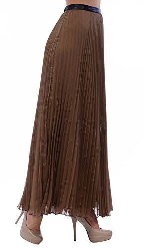 Carapace Womens Pleated Maxi-Skirts With Imitation Leather Waist Band