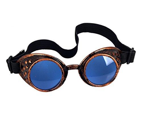 Careonline Retro Vintage STEAMPUNK GOGGLES Glasses Rock Goth Colorful Lens Sunglasses