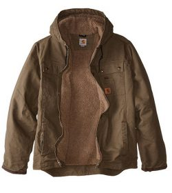 Carhartt Men's Big & Tall Sherpa Lined Sandstone Hooded Multi Pocket Jacket J284 .