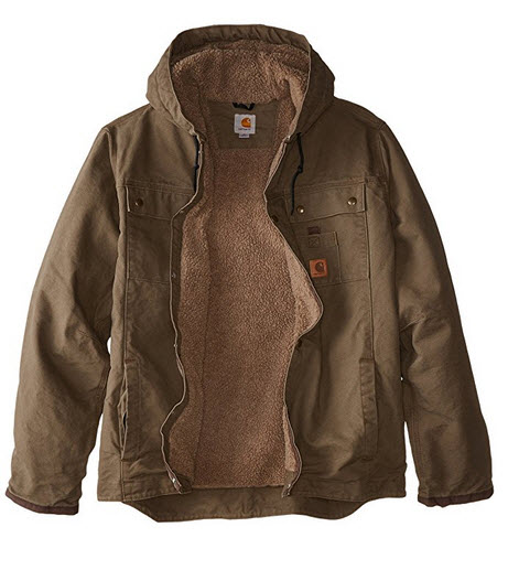 Carhartt Men's Big & Tall Sherpa Lined Sandstone Hooded Multi Pocket Jacket J284 .