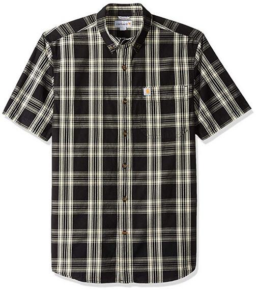 Carhartt Men's Essential Plaid Button Down Short Sleeve Shirt black