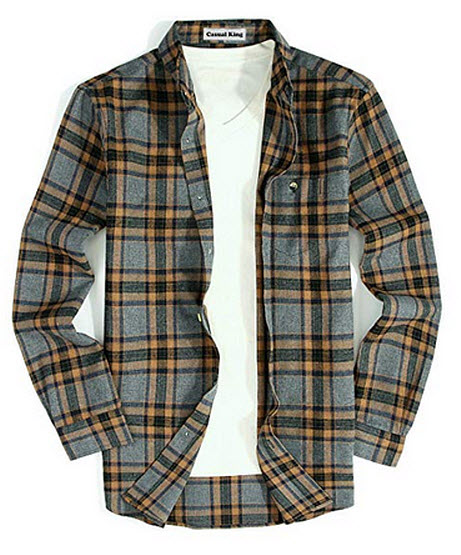 Casual King Mens Casual Button Down Shirts Long Sleeve Regular Fit Plaid Flannel Shirt Gray-Brown