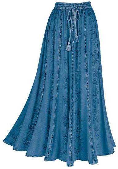 CATALOG CLASSICS Women's Over-Dyed Maxi Skirt – Elastic Waistband 36 inch Long – Den ...
