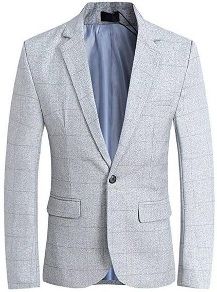CCXO Men's Slim Fit Suits Casual One Button Flap Pockets Solid Blazer Jacket (XL, Light Gray)