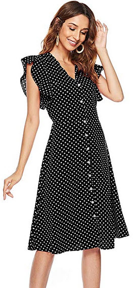 CEASIKERY Women's Boho Polka Dot Sleeveless V Neck Swing Midi Dress 44 black