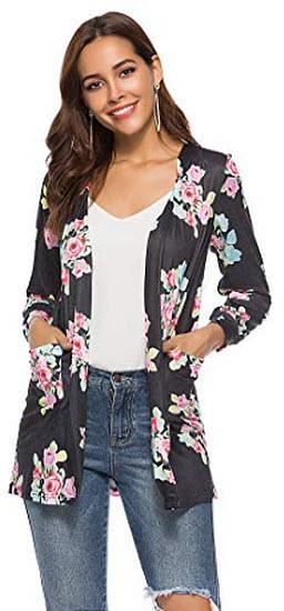 CEASIKERY Women's Floral Kimono Cardigans Casual Tops Loose Blouse Boho Wrap, black