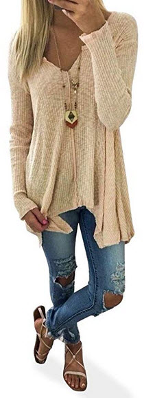 CEASIKERY Womens Tunic Long Sleeve Knitwear V Neck Sweater Tops Pullovers Shirt khaki