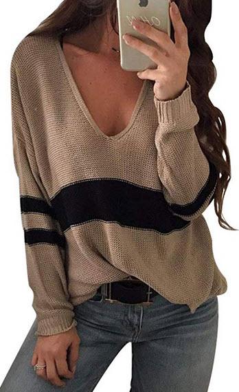 CEASIKERY Womens Tunic Long Sleeve Sweater Stripe Knitwer Pullover Winter Shirts khaki