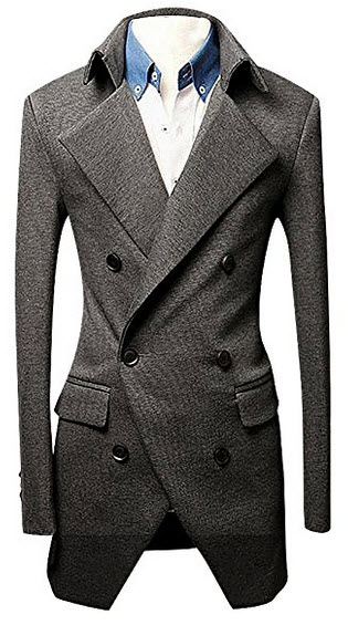 CELINO Men's 1 Color Double Breasted 3 Button Cotton Notch Collar Suit Jacket.