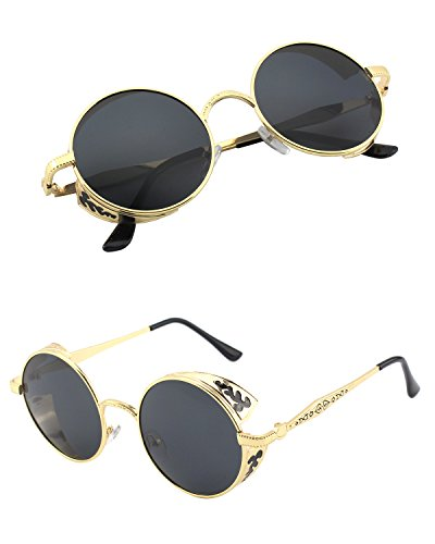 CGID E72 Retro Steampunk Style Inspired Round Metal Circle Polarized Sunglasses