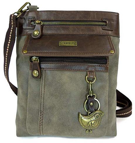 """Chala Gemini Vegan Leather Crossbody Bag """"Bird"""" Stone Gray"""