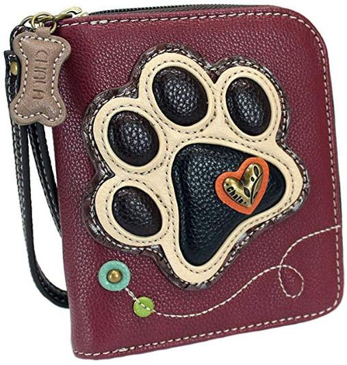 Chala Ivory Paw Print Zip-Around Wristlet Wallet, Dog