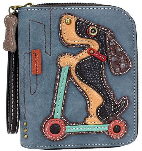 Chala Weinder Dog on Scooter Zip-Around Wallet/Wristlet Dachshund