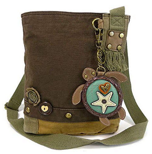 "Chala Womens' Canvas Patch Crossbody Handbag ""Sea Turtle"" – Dark Brown"