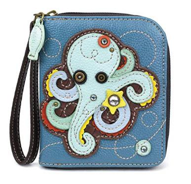 CHALA Zip Around Wallet, Wristlet, 8 Credit Card Slots, Sturdy Pu Leather octopus blue
