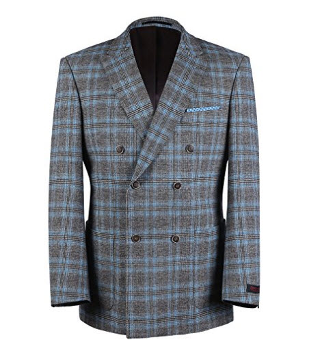 Chama Brown and Blue Plaid Double Breasted Peak Lapel Classic Fit Blazer.