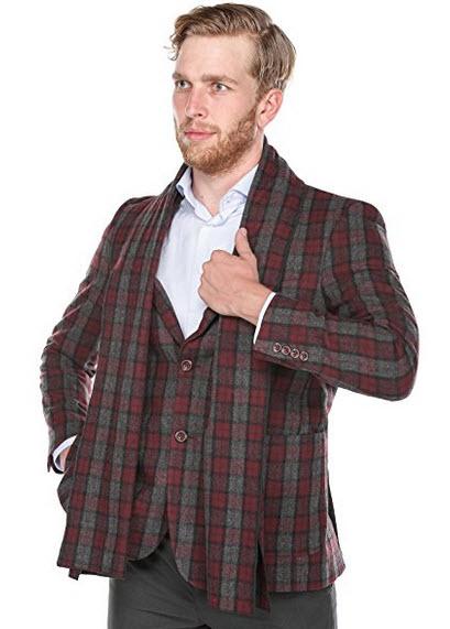 Chama Burgundy and Dark Grey Plaid Slim Fit Wool Blend Blazer with Matching Scarf.