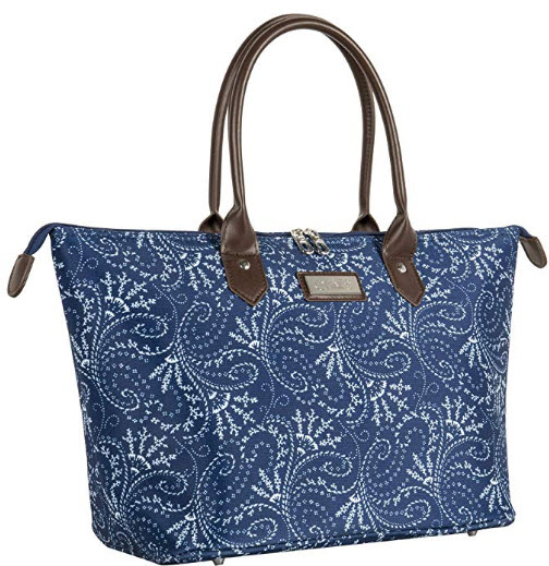 Chaps Oversized Bag Travel Tote, spring paisley navy