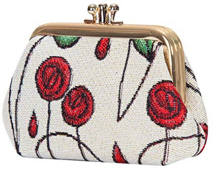 Charles Rennie Mackintosh Rose Art Nouveau Coin Purse for Women/Clasp Change Purse for Women fro ...