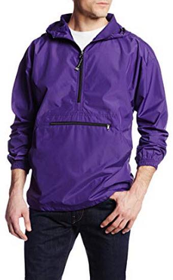 Charles River Apparel Pack-N-Go Wind & Water-Resistant Pullove, purple