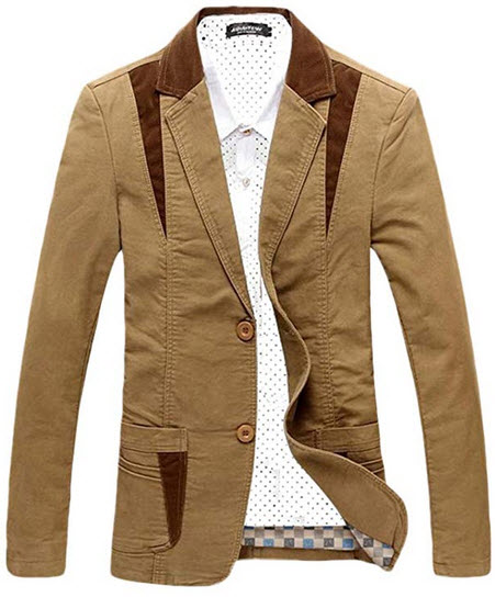 Chartou Men's Casual Western-Style Lightweight Slim Two-Buttons Cotton Suit Blazers Jacket ...