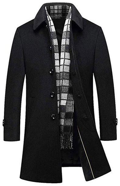 Chartou Men's Classic Mid-Length Quilted Wool Car Coat with Detachable Scarf black