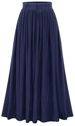 Chartou Women's Fashion High Waist Shirring Pleated Maxi Long Skirts