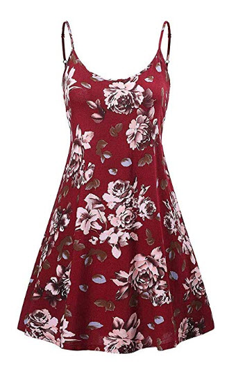 CHBORCHICEN Women's Sexy Floral Printed Summer Dresses Backless Shoulder Straps Adjustable ...