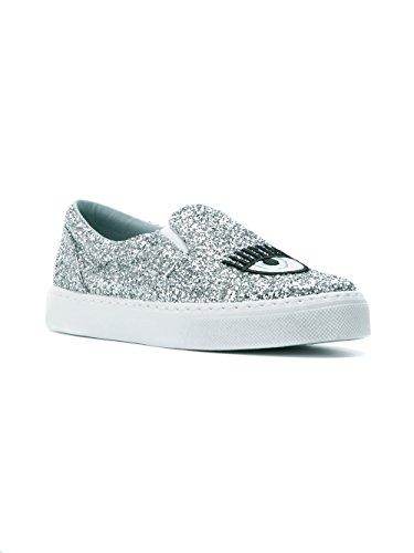 CHIARA FERRAGNI Women's CF1897 Silver PVC Slip On Sneakers