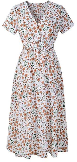 Chicanary Women's Floral Print Chiffon Midi Dresses, white