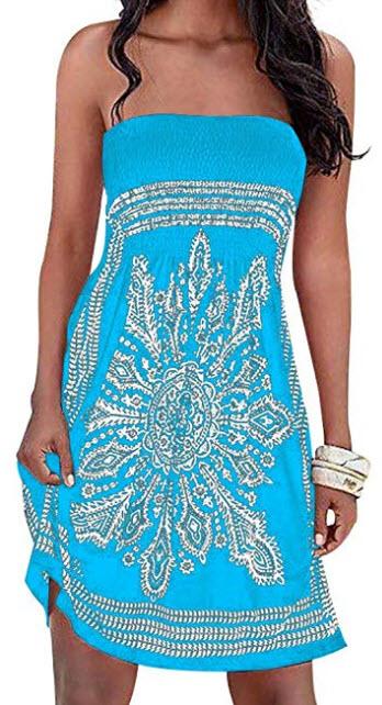 Chicgal Women's Beach Dress Bohemian Strapless Floral Print Cover Up Dresses, blue