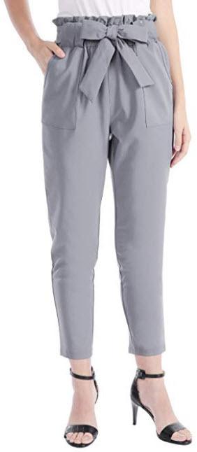 CHICIRIS Women's Leisure High Waist Pants Autumn Wide Leg Trousers Party Outdoor light grey