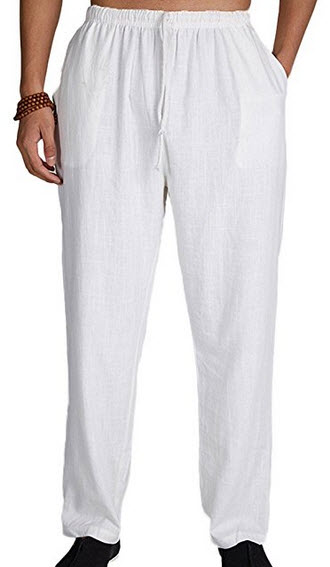 Chickle Men's Solid Big and Tall Linen Drawstring Elastic Waist Pants .