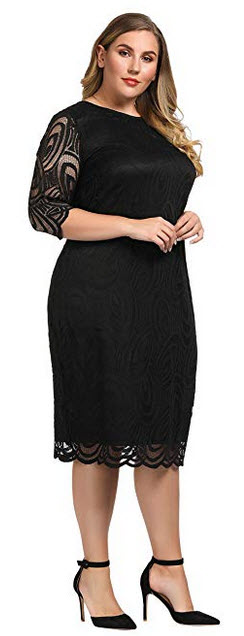 Chicwe Womens Plus Size Lined Elegant Shift Dress with Scalloped Lace Hem & Cuff black