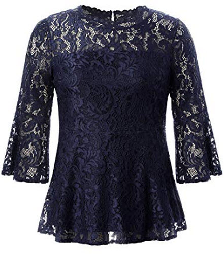Chicwe Women's Plus Size Stretch Romantic Lace Peplum Top with Scalloped Neck & Flare  ...