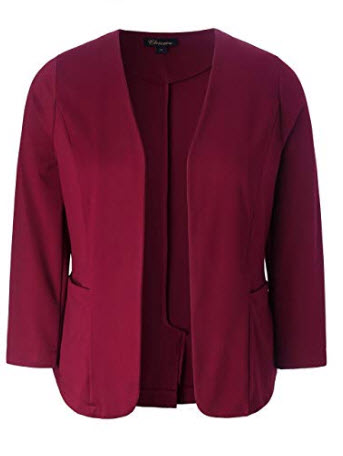 Chicwe Women's Plus Size Stretch Work Chic Outfit Blazer Jacket Pockets, wine red