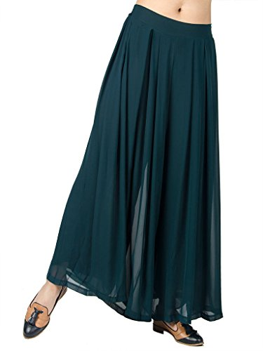 Choies Women's Chiffon Pleated Plain Elastic Waist Wide Leg Palazzo Pants
