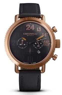 Chotovelli Vintage Pilot Men's Watch Chronograph display Black leather Strap 72.14