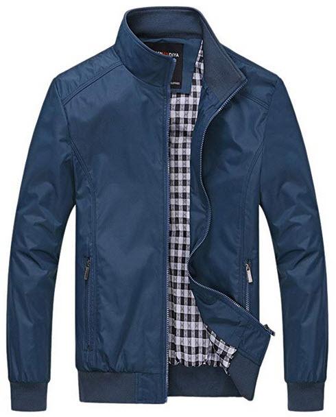 chouyatou Men's Active Lightweight Softshell Zipper Bomber Jacket blue