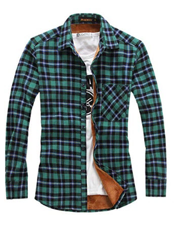 chouyatou Men's Casual Long Sleeve Fleece Lined Plaid Flannel Buttoned Overshirts Jacket M02
