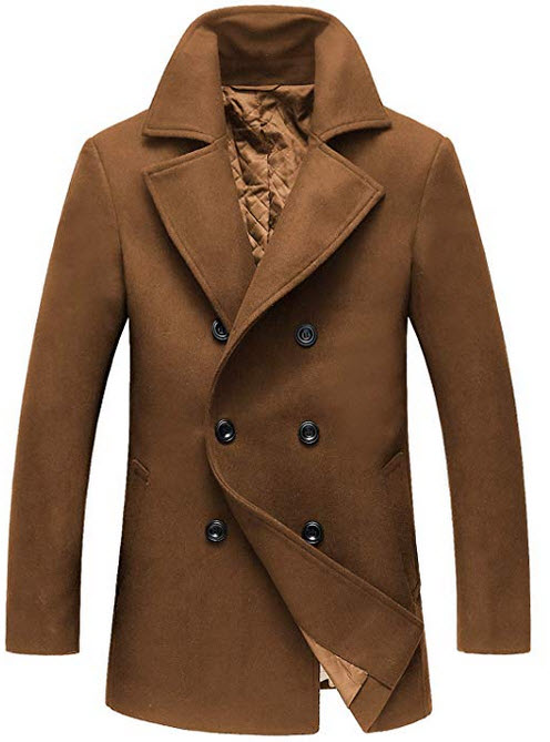 chouyatou Men's Classic Notched Collar Double Breasted Wool Blend Pea Coat brown